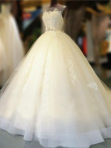 Glorious White Bateau Neckline Appliques and Bowknot Wedding Dresses Sleeveless Backless