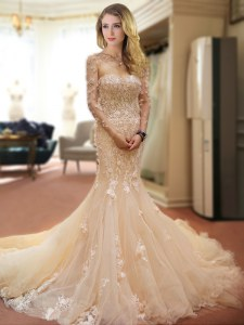 Mermaid Sweetheart Sleeveless Bridal Gown With Train Court Train Appliques and Hand Made Flower Champagne Tulle