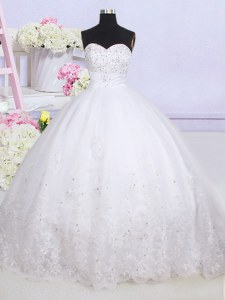 High End Court Train Ball Gowns Wedding Dresses White Sweetheart Tulle Sleeveless With Train Lace Up