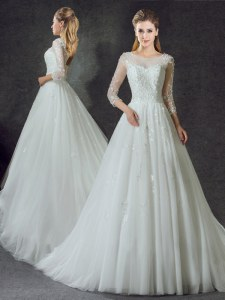 Most Popular Scoop Tulle 3 4 Length Sleeve Wedding Dress Court Train and Lace