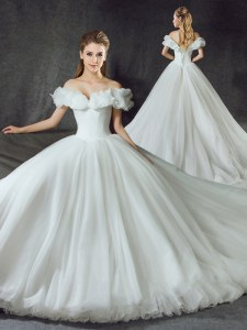 Off the Shoulder Backless White Ball Gowns Appliques Wedding Dresses Lace Up Tulle Sleeveless With Train