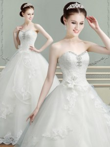 Chic Floor Length White Wedding Dress Sweetheart Sleeveless Lace Up
