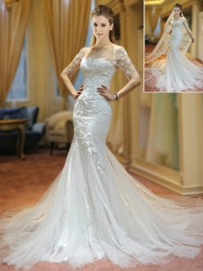 White Mermaid Scoop Half Sleeves Tulle With Brush Train Lace Up Appliques Wedding Gowns
