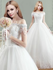 Custom Designed Ball Gowns Wedding Gown White Off The Shoulder Tulle Sleeveless Floor Length Lace Up