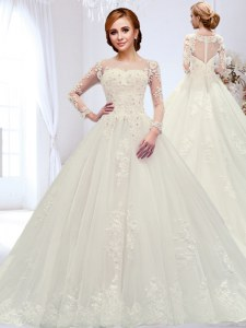 Unique Scoop Long Sleeves Tulle Wedding Gowns Beading and Appliques Court Train Zipper