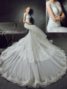 Cheap Mermaid Scoop Sleeveless Wedding Gown With Train Court Train Lace White Tulle