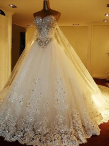 Dramatic White A-line Beading and Appliques Wedding Dresses Lace Up Tulle Sleeveless With Train