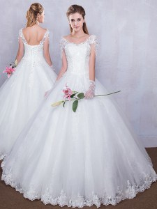 Attractive Short Sleeves Floor Length Lace Up Wedding Gown White for Wedding Party with Lace