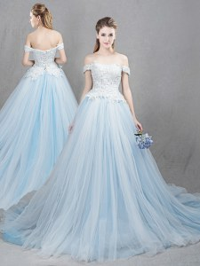 Wonderful Tulle Off The Shoulder Sleeveless Chapel Train Lace Up Appliques Wedding Dresses in Light Blue