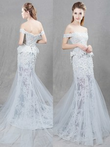 Exquisite Mermaid White Lace Up Off The Shoulder Lace and Appliques Wedding Dress Tulle Sleeveless Brush Train