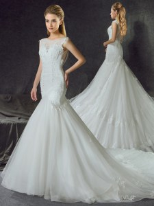 Mermaid Scoop Sleeveless Tulle With Train Court Train Side Zipper Wedding Gown in White with Lace and Appliques