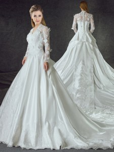 Smart With Train White Bridal Gown Satin Chapel Train Long Sleeves Lace and Appliques