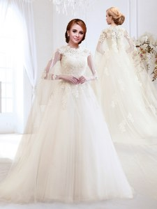 Elegant White Wedding Dresses Wedding Party and For with Appliques High-neck Sleeveless Brush Train Lace Up