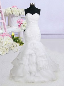 Mermaid Sleeveless Brush Train Lace Up With Train Beading and Ruffled Layers Wedding Dresses