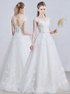 White Tulle Lace Up Scoop Short Sleeves Floor Length Bridal Gown Appliques