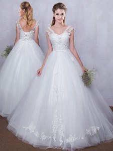 Pretty Straps White V-neck Lace Up Lace and Appliques Wedding Dress Sleeveless