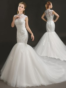 Best Selling Mermaid White Wedding Gown Wedding Party and For with Lace and Appliques High-neck Sleeveless Court Train Zipper