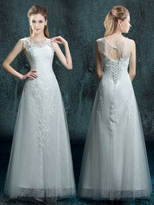 Scoop Floor Length White Bridal Gown Tulle and Lace Sleeveless Appliques
