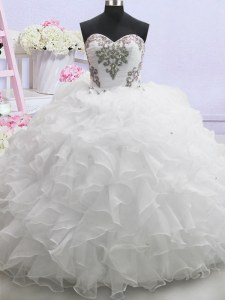 Most Popular Ruffled White Sleeveless Organza Brush Train Lace Up Bridal Gown for Wedding Party