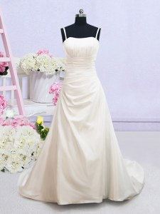 Pretty A-line Sleeveless White Wedding Dresses Brush Train Zipper
