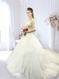 Dazzling Tulle Off The Shoulder Half Sleeves Court Train Lace Up Lace and Appliques Wedding Gowns in White