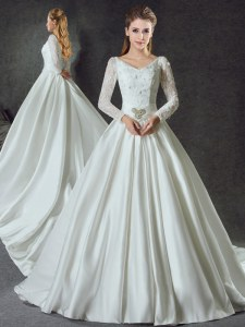 Hot Sale Long Sleeves Chapel Train Lace Up With Train Lace and Belt Wedding Gown