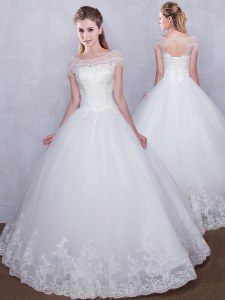 Flirting Scoop Cap Sleeves Lace Up Wedding Gown White Tulle