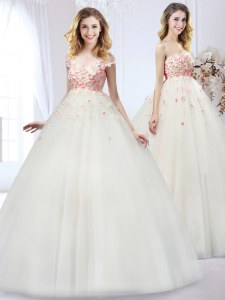 Cheap Strapless Sleeveless Wedding Gowns Floor Length Appliques White Tulle