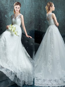 Lovely White Wedding Gown Wedding Party and For with Lace and Appliques V-neck Sleeveless Brush Train Lace Up
