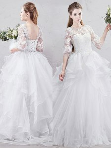 Fine Scoop White Tulle Lace Up Wedding Dresses Half Sleeves With Brush Train Lace and Ruffles