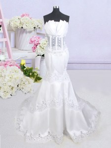 Mermaid See Through With Train White Wedding Gown Scalloped Sleeveless Brush Train Zipper