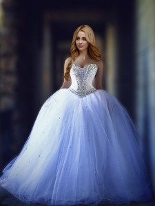 Exceptional Sweetheart Sleeveless Bridal Gown With Brush Train Beading White Tulle