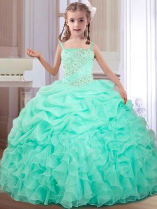 Straps Pick Ups Floor Length Ball Gowns Sleeveless Apple Green Custom Made Lace Up