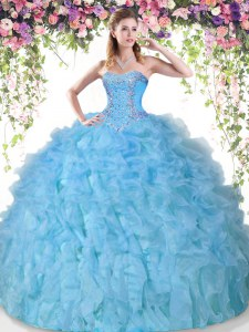 Glittering Sweetheart Sleeveless Organza 15th Birthday Dress Beading and Ruffles Lace Up