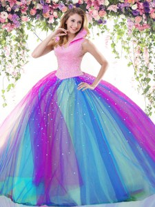 Multi-color Backless Beading Sweet 16 Quinceanera Dress Tulle Sleeveless