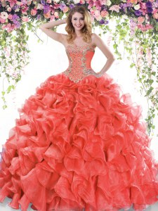Lace Up Sweet 16 Dresses Red for Military Ball and Sweet 16 and Quinceanera with Beading and Ruffles Sweep Train