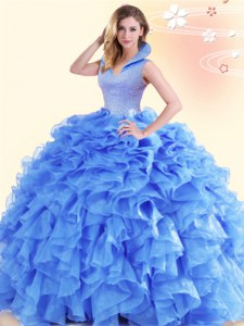 New Style Blue Sleeveless Organza Backless Quinceanera Dress for Military Ball and Sweet 16 and Quinceanera