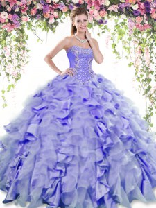 Lavender Quince Ball Gowns Military Ball and Sweet 16 and Quinceanera and For with Beading and Ruffles Sweetheart Sleeveless Lace Up