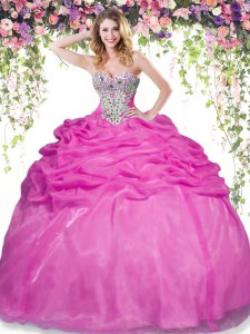 Shining Pick Ups Floor Length Hot Pink Vestidos de Quinceanera Sweetheart Sleeveless Lace Up