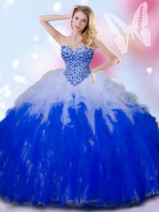 Blue And White Sweetheart Lace Up Beading and Ruffles Ball Gown Prom Dress Sleeveless