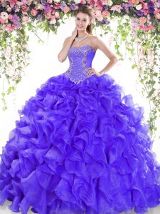 Organza Sweetheart Sleeveless Sweep Train Lace Up Beading and Ruffles 15th Birthday Dress in Purple