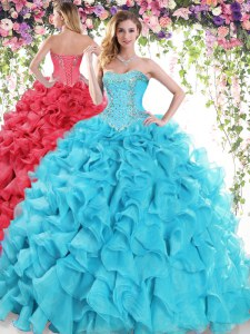 Sexy Sweetheart Sleeveless Organza Quinceanera Gowns Beading and Ruffles Sweep Train Lace Up