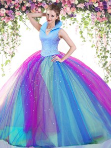 Multi-color Ball Gowns Tulle High-neck Sleeveless Beading Floor Length Backless Sweet 16 Quinceanera Dress