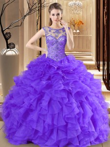 Traditional Scoop Purple Sleeveless Floor Length Beading and Ruffles Lace Up Quinceanera Dress