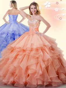 Fine Orange Sweetheart Lace Up Beading and Ruffles Quinceanera Dresses Sleeveless