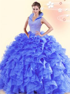 Purple Organza Backless Quinceanera Dresses Sleeveless Floor Length Beading and Ruffles