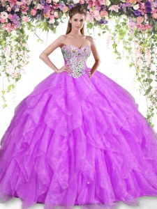Sweetheart Sleeveless Quinceanera Dresses Floor Length Beading and Ruffles Purple Organza