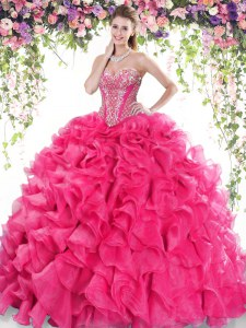 Hot Pink Ball Gown Prom Dress Organza Sweep Train Sleeveless Beading and Ruffles