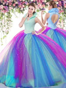 Attractive Multi-color Tulle Backless Sweet 16 Dresses Sleeveless Floor Length Beading