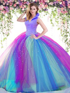 Fantastic Beading Vestidos de Quinceanera Multi-color Backless Sleeveless Floor Length